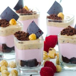 Raspberry, Chocolate & Hazelnut Crunch Verrine