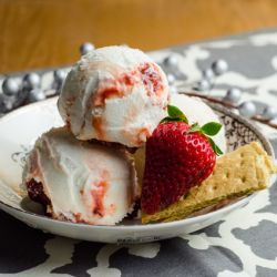Strawberry Cheesecake Swirl Ice Cream Image