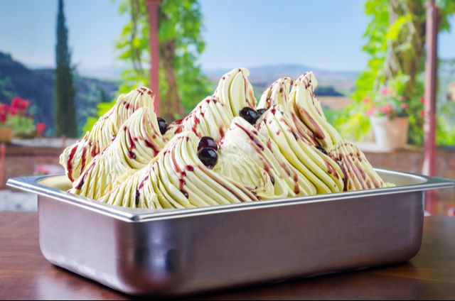Pure Pistachio Gelato with Cherry Topping