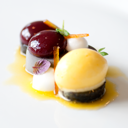 Black Sesame Cherry Plated Dessert