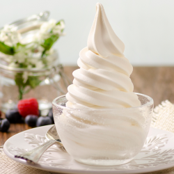 Peach-Mango Greek Yogurt Soft Serve