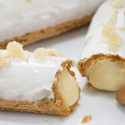 Almond Ginger Pastry Cream filled Gluten Free Eclair Image